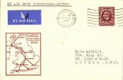 (GB Internal) F/F Railway Air Service Inland Airmail Service, Birmingham to London, bs 21/8, etiquette cover, red framed 'map' cover, franked 1 1/2d, carried in the first through flight on Aug 21.