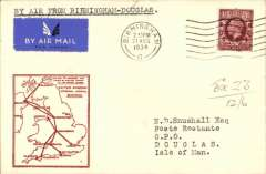 (GB Internal) F/F Railway Air Service Inland Airmail Service, Birmingham to Douglas, bs 21/8, etiquette cover, red framed 'map' cover, franked 1 1/2d, carried in the first through flight on Aug 21.