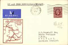 (GB Internal) F/F Railway Air Service Inland Airmail Service, Birmingham to Belfast, bs 22/8, etiquette cover, red framed 'map' cover, franked 1 1/2d, carried in the first through flight on Aug 21.