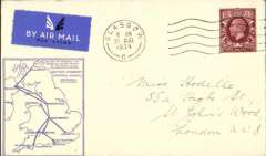 (GB Internal) F/F Railway Air Service Inland Airmail Service, Glasgow to London, bs 21/8, etiquette cover, blue framed 'map' cover, franked 1 1/2d, carried in the first through flight on Aug 21.