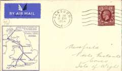 (GB Internal) F/F Railway Air Service Inland Airmail Service, Glasgow to Cowes, bs 22/8, etiquette cover, blue framed 'map' cover, franked 1 1/2d, carried in the first through flight on Aug 21.