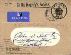 """(GB Internal) Scarce non philatelic F/F Railway Air Service Inland Airmail Service, Cowes to Liverpool, arrival ds on front, and on to Anglesey bs 23/8, """"Official Paid"""" OHMS window cover with original enclosure, postmarked Cowes 20 Aug 34. Postmarked 20 Aug, but carried by air Aug 21."""
