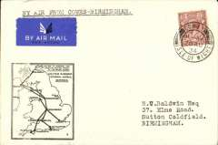(GB Internal) F/F Railway Air Service Inland Airmail Service, Cowes to Birmingham, black framed 'map' cover franked 1 1/2d, postmarked Cowes 20 Aug 34. Postmarked 20 Aug, but carried by air Aug 21.