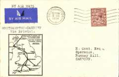 (GB Internal) F/F Railway Air Service Inland Airmail Service, Southampton to Cardiff, black framed 'map' cover franked 1 1/2d, postmarked Southampton 20 Aug 34. Postmarked 20 Aug, but carried by air Aug 21.