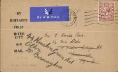 """(GB Internal) F/F Railway Air Service Inland Airmail Service, Manchester to London, uncommon printed """"By Britain's First Intercity Air Mail"""" cover franked 1 1/2d, hs 'From Manchester'."""