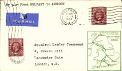 (GB Internal) F/F Railway Air Service Inland Airmail Service, Belfast to London, 21/8 arrival ds, green framed 'map' cover franked 1 1/2d, carried by surface and air.