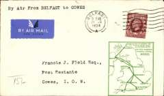 (GB Internal) F/F Railway Air Service Inland Airmail Service, Belfast to Cowes, bs 21/8, green framed 'map' cover franked 1 1/2d, carried by surface and air.