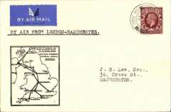 (GB Internal) F/F Railway Air Service Inland Airmail Service, London to Manchester, black framed 'map' cover franked 1 1/2d, carried by surface and air.