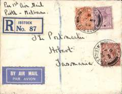 "(GB External) England to Tasmania, first GB acceptance for sea mail to Freemantle, Australia, then F/F over Australian Perth-Adelaide service, saving 4 days on the journey, Ibstock to Hobart, bs 8/6, via Westn Australia 4/6, registered (label) cover franked 9 1/2d, ms""Per 1st Air Mail/Perth-Melbourne"", blue/white etiquette."