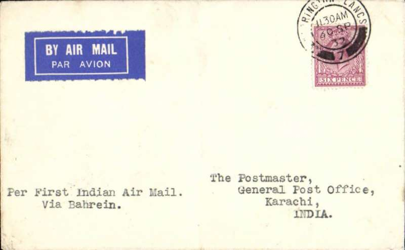 """(GB External) Imperial Airways, alternative route through Trucial States, London to Karachi, bs 8/10, airmail etiquette cover franked 6d, canc Warrington, Lancs 30 SP 32, typed """"Per First Indian Air Mail/Via Bahrein"""". Newall 120u. Faint ironed vertical crease."""