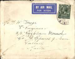 (GB External) Airmail to ship, South Shields to Valleta, bs 22/2, airmail etiquette cover franked 4d, canc South Shields cds, addressed to 3rd Engineer, S/S Egyptian (Monarch added in error and at later date in different  hand). S/S Egyptian, a Cargo ship built 1920, of Cape Farewell, was torpedoed and sunk by a German submarine when she was in convoy between New York and London. Thirty-five crew and nine gunners were lost. A touch grubby, but interesting.