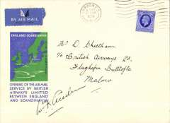 (GB External) British Airways, New England -Scandinavia service, London to Malmo, b/s 17/3, blue/green/cream souvenir cover franked 2 1/2d canc London cds, signed by the pilot Flt. Lt. W. F. Anderson. Ironed horizontal fold, does not detract, see scan.