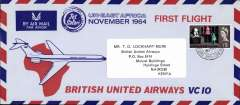 (Kenya) British United Airways VC10 F/F London to Nairobi to London, attractive blue/red/ pale blue souvenir cover, 10x20cm, franked 1/3d.