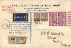 """(India) Calcutta to London, bs 15/4, flown on first return service Karachi to London, registered (label) souvenir cover with illustration block of India 1/- centre missing error verso, black dr """"By Air"""" hs, 1929 etiq rated very scarce by Mair, blue/cream Calcutta Philatelic Mart souvenir cover franked 10 annas, typed """"Registered/By Air Mail/Karachi-Croydon/FIrst Flight"""", Imperial Airways. Registration label toned, see scan."""