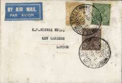 (India) Airmail cover from Calcutta to London, no arrival ds, light grey envelope with blue crown over 'Tagore Castle' embossed on the flap, franked 7 1/2 annas, blue/white airmail etiquette.'Tagore Castle' in Pathuruaghata was modelled on an English castle. It had a 30 m high centre tower in the fashion of Windsor Castle in England and there was a clock imported from England, reminiscent of Big Ben.