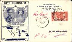 """(Kenya) F/F First Stage EAMS, Dar es Salaam to Lindi, Tanganyika 4/7, Coronation env. with additional printed """"Inauguration Empire Air Mail Service At Reduced Rate 1st July 1937"""",  franked 20c, Imperial Airways,attractive cover, unusual destination"""