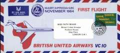 (Kenya) British United Airways VC10 1st flight 'Jet Safari' UK to East Africa, Nairobi to London, no arrival ds, red/blue/pale blue imprint etiquette envelope, 10x20cm franked 1/3d, canc Brighton and Hove cds.