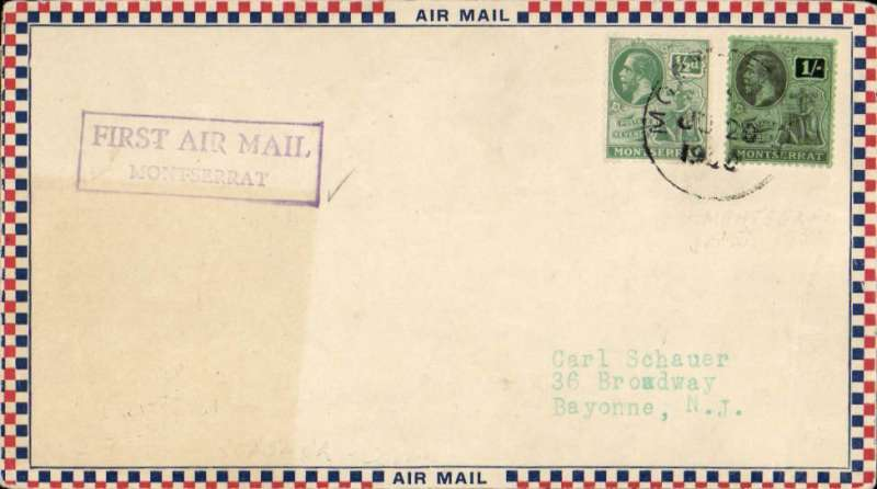 "(Montserrat) The only recorded flight from Montserrat. Montserrat to St Kitts, bs 23 FE 1931, Roessler small check airmail cover franked 1/ 1/2d canc Montserrat JU 25 1930, violet framed ""First Air Mail/Montserrat"". In June 1930 arrangements were made by NYRBA for a special flight from Antigua to Montserrat and return. Mail prepared at Plymouth, Montserrat was postmarked and cacheted, but the flight had to be cancelled due to bad weather. In February 1931 HMS ""Dorsetshire"" called at Plymouth and left behind a seaplane to follow on to Bassetiere, St Kitts. The flight was made on 23 Feb 1931. See Locke JM, Air Mails of the West Indies, 1962. A great exhibit item."