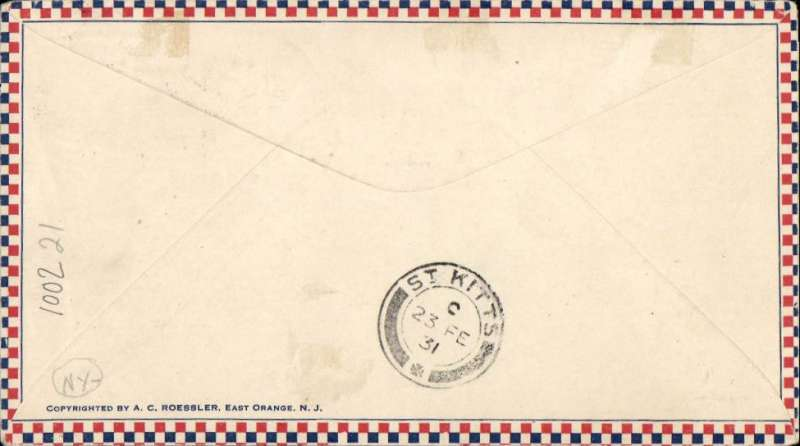 """(Montserrat) The only recorded flight from Montserrat. Montserrat to St Kitts, bs 23 FE 1931, Roessler small check airmail cover franked 1/ 1/2d canc Montserrat JU 25 1930, violet framed """"First Air Mail/Montserrat"""". In June 1930 arrangements were made by NYRBA for a special flight from Antigua to Montserrat and return. Mail prepared at Plymouth, Montserrat was postmarked and cacheted, but the flight had to be cancelled due to bad weather. In February 1931 HMS """"Dorsetshire"""" called at Plymouth and left behind a seaplane to follow on to Bassetiere, St Kitts. The flight was made on 23 Feb 1931. See Locke JM, Air Mails of the West Indies, 1962. A great  exhibit item."""