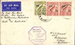 "(Papua and New Guinea) Ulm, Avro X ""Faith in Australia"" F/F NG to Melbourne, Lae 30/7 cds, to Melbourne, bs 1/8, plain cover franked 2d x2, 4d Air Mail opts, violet hexagonal 'New Guinea-Australia flight cachet."