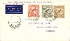 (Papua and New Guinea) WR Carpenter Airlines, Mandang to England, bs 17/6, via Brisbane 5/6, carried on 1st official airmail service between Australia-Papua and New Guinea, and on to GB, plain cover franked 1932 2d & 6d ,and 1/- with biplane and Air Mail, cancelled Mandang, Salamauau 4/6, Brisbane 5/6 and Birmingham 17/6. Ironed vertical fold, does not detract - see scan.