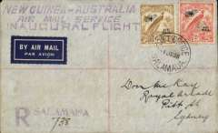 "(Papua and New Guinea) WR Carpenter Airlines,Salamaua to Sydney, bs 6/6, carried on 1st oficial airmail service between Australia-Papua and New Guinea, reg (hs) cover franked 6d & 2d with biplane and Air Mail, postmarked Salamaua 4/6, large three line ""New Guinea-Australia/Air Mail Service/Inaugural Flight"" cachet."