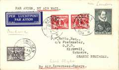 """(GB Internal) Wenganingen to Kirkwall, bs 29/5, Netherlands acceptance for Highland Airways F/F Inverness to Kirkwall, airmail etiquette cover franked 7 1/2c Nederland stamps, canc 26 V 1934, typed """"By Air, Inverness-Orkneys""""dark blue/white airmail etiquette. Uncommon."""