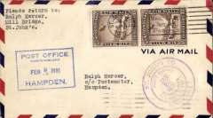 (Newfoundland) Sullivan flight, F/F St Johns to Hampden, boxed blue Hampden 9/2 arrival ds cachet on front and verso, violet circular flight cachet, franked 15c air x2, AAMC FF-37.