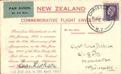 (New Zealand) Tenth anniversary of the first Christchurch to Timaru flight, special cover flown over CChristchurch-Ashburton-Timaru, b/s 18/2, Qantas, signed by Euan Dickson who flew the inaugural flight..