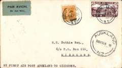 (New Zealand) Air travel survey flight, Auckland to Gisborne, bs 10/12, airmail etiquette cover franked 3d air + 1d. Air Mail.
