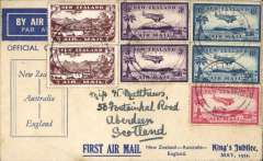 (New Zealand) Interrupted Jubilee Air Mail flight, intended return flightNew Zealand-(Australia)-Engand, no arrival ds, printed blue/white souvenir cover, franked 2/1d, canc Christchurch cds. Plane failed to reach NZ on outward flight, so all NZ mail went to Australia