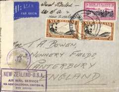 """(New Zealand) First Flight, World War II trans pacific air 'all the way' from New Zealand to England,  Palmerston North to Canterbury, England, no arrival ds, censored cover franked 3/- x2 and 3d, etiquette, canc 12 JUL 40, ms 'Great Britain/USA & New Zealand', sealed black/white NZ censor tape tied by circular blue """"Passed By Censor NZ/32"""" censor mark and violet framed """"New Zealand-USA/via Air Mail Service/via New Caledonia, Canton Is and Hawaii"""" first flight cachet. Correctly rated 6/3d for 'All Air' Pan Am FAM19 Auckland to San Francisco, US internal air service to New York, Pan Am FAM 18 to Lisbon, BOAC/KLM to London. A short lived rate from 20 JUL 1940 to 9 Sept 1940. See Boyle p 877. Superb WWII item."""