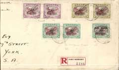 (Papua and New Guinea) Port Morseby to New York, bs 14/9, via Brisbane 10/8 and Seattle 11/9, right half of a long commercial envelope franked 1930 air opt. set of 3 in pairs (SG 118-120) and 1929 3d air opt (SG 114). One of each of the 1930 3d and 1/- has the 'lightening flash' variation.