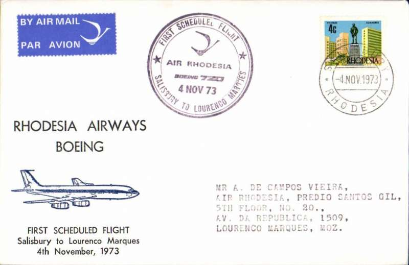(Rhodesia ) F/F Rhodesia Airways, Salisbury to Laurenco Marques, special 4/11 arrival fight cachet, blue/white souvenir cover with drawing of Boeing in flight, franked Rhodesia 4c, canc Salisbury Rhodesia cds. The permitted use of a Rhodesia stamp is significant, because around that time the UK refused to accept it as legal tender.