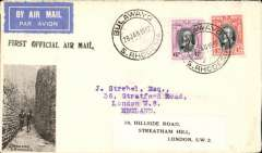 """(Southern Rhodesia) F/F Bulawayo to London, bs Kensington 16/2, carried on 1st regular Cape Town- London service, black st. line """"First Official Air Mail"""" cachet, attractive cover with B&W image of Bulawayo street scene in lower lh corner."""