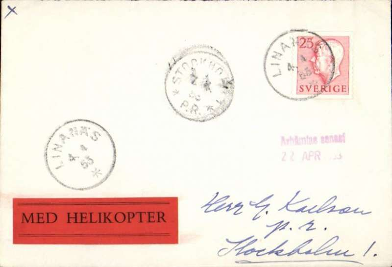 (Helicopter) F/F Linnas to Stockholm, 7/4/arrival ds on front,