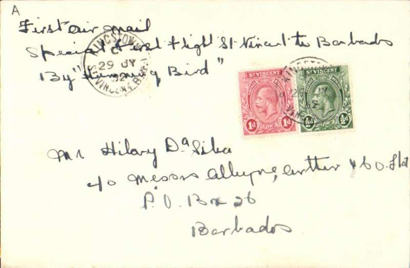 """(St Vincent) Rare St Vincent """"Hummingbird"""" flight to Barbados, bs 30/7, the first and only official air mail. Plain cover franked 1 1/2d canc St Vincent/30 JY 32 cds, typed """"First Air Mail/Special First Flight St Vincent to Barbados/by Humming Bird"""". A letter of expertisation from Francis Field accompanies this item."""