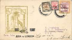 "(Sudan) First acceptance of mail from Sudan for USA for carriage on Imperial Airways inaugural East Africa-England service, Juba to London, Imperial Airways House London arrival verso, and on to New York, bs 30/3, black ""First Flight/Halfa to London"" biplane F/F cachet, Roessler yellow/olive ""London to Cape/Air Mail/First Flight"" envelope, ref ROE.FF5, illustrated p91 Newton, franked 10m & 2P 1931 air opts (Cat £18.50) and 5m ordinary. Scarce final destination since only 154 were flown to London."