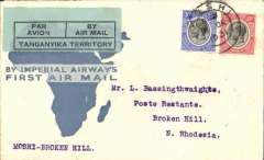 (Tanganyika) F/F Moshi to Broken Hill, bs 19/12, via Mbeya 18/12, carried on the Imperial Airways experimental extension to Cape Town in order to place and test aircraft over the new southern part of the route in preparation for the opening of regular services which commenced in January 1932, blue/cream souvenir 'map' cover franked 45c, canc Moshi cds, green/black Tanganyika Territoty airmail etiquette. Small mail.