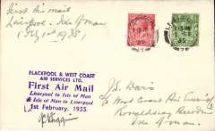 (GB Internal) Blackpool and West Coast Air Services, F/F Liverpool to Castletown (Isle of Man), plain cover franked 1 1/2d (all mail now carried at ordinary rates), purple six line 'First Air Mail/Lverpool to Isle of Man ..................' cachet on front, signed by the pilot Cap. J.C.Higgins.