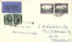 "(South Africa) First acceptance of mail from South Africa for carriage on the RANA F/F from Salisbury (Southern Rhodesia) to Blantyre ( Nyasaland), Cape Town to Limbe bs 9/3, via 'Blantyre9/3, plain cover franked South Africa 2d & 1/2d 'Official' bilingual pairs canc Houses of Parliament Cape Town 6th March 1934, black/dark blue airmail etiquette, violet two line ""First Flight Official Air Mail"" and black two line ""S.Rhodesia/Nyasaland"" cachets. Scarce item in pristine condition. Ex Hanman Gold Medal Collection."
