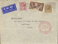 "(GB External) Cover flown from London to Santiago, bs 22/7 on Germany to South America catapult, airmail etiquette cover franked 4/- inc 2/6d Seahorse, red double ring cachet ""Deutsche Luftpost Europa-Sudamerika"" and depicting a flying boat and Zeppelin."