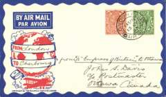 "(GB External) St. Lawrence Seaway  North Atlantic air-sea acceleration service 1927-39, first return flight Bradore Bay/Belle Isle to Montreal with mail collected from the incoming Empress of Britain on the occasion of the Imperial Economic Conference in Ottawa, flown by RCAF, London to Ottawa, bs 18/7, attractive Philatelic Magazine cover correctly rated 2  1/2d, canc London FS/13 Jul 32, ms ""From London to Cherbourg"" and ""From SS Empress of Britain to Ottawa"",  ""By Seaplane from Strait of Belle Isle/1/3 of shortest route to Europe"" slogan cancellation verso. The 'St. Lawrence Seaway Air Mail Service', a 27 page A5 illustrated article by Beith R accompanies this item offering a great opportunity to research this little known service."