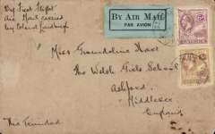 (Antigua) F/F FAM 6, St. John's to Port of Spain, Trinidad, bs 22/9, franked 9d, canc St John's cds tying black/pale green airmail etiquette, flown by Lindbergh, Pan Am