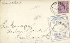 "(Australia) Early internal airmail FRONT, flown on Perth-Derby route, Derby to Freemantle, franked 4 1/2d canc Derby cds, violet boxed ""Forwarded By Air Mail"" cachet. Example of rubber stamps introduced for airmail correspondence."