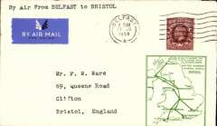 (GB Internal) F/F Railway Air Service Inland Airmail Service, Belfast to Bristol, etiquette cover, green framed 'map' cover, franked 1 1/2d.