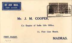 """(India) TATA extension of Madras-Karachi line to Bhuj, F/F Bhuj to Madras, bs 18/4, b/s, printed """"First Flight"""" etiquette cover franked 1anna x2. Only two day's notice of change were given and, consequently, very few covers were flown, see Brown, p57."""
