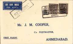 """(India) TATA extension of Madras-Karachi line to Bhuj, F/F Bhuj to Ahmedabad, bs 16/4, printed """"First Flight"""" cover franked 1anna x2, airmail etiquette cancelled by black framed 'Cancelled/Ahmedabad/16 APR 37' hs. Only 24 hours notice of change were given and, consequently, very few covers were flown, see Brown, p57."""