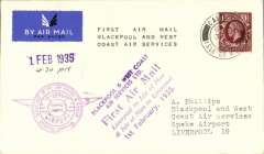 """(GB Internal) Blackpool and West Coast Air Services, F/F eleventh GB Inland Airmail Service Castletown (Isle of Man) to Liverpool, violet Liverpool receiver on front, (CREST cover franked 1 1/2d (all mail now carried at ordinary rates), canc Castletown cds, official purple company hs """"1 Feb 1935"""" F/F cachet (more common on mail to the island), purple six line 'First Air Mail' cachet on front, and  a similar cachet in black verso."""