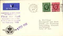 """(GB Internal) Blackpool and West Coast Air Services, F/F eleventh GB Inland Airmail Service Liverpool to Castletown (Isle of Man), CREST cover franked 1 1/2d (all mail now carried at ordinary rates), canc Liverpool cds, official purple company hs """"1 Feb 1935"""" F/F cachet (more common on mail to the island), purple six line 'First Air Mail' cachet on front, and  a similar cachet in black verso."""
